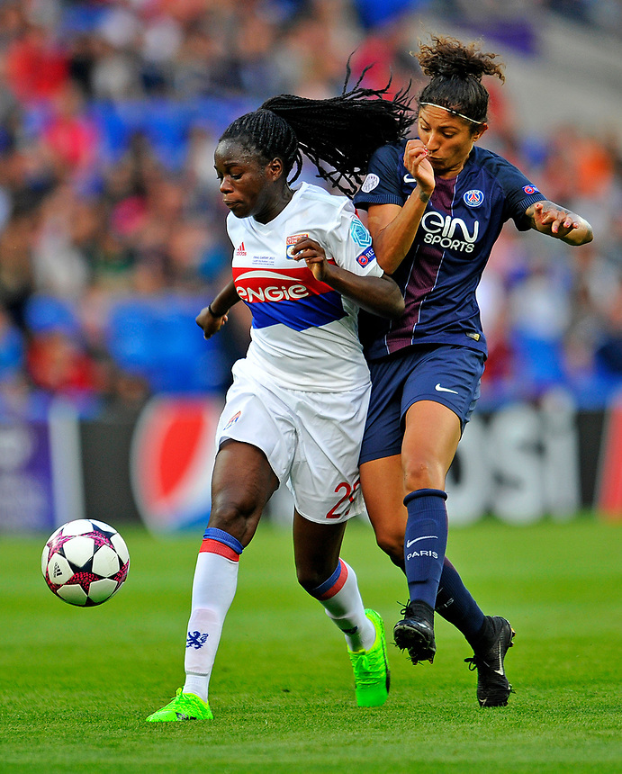 Olympique Lyonnais' Griedge M'Bock Bathy vies for possession with Paris Saint-Germain's Cristiane<br /> <br /> Photographer Ashley Crowden/CameraSport<br /> <br /> UEFA Women's Champions League Final - Lyon Women v Paris Saint-Germain Women - Thursday 1st June 2017 - Cardiff City Stadium<br />  <br /> World Copyright &copy; 2017 CameraSport. All rights reserved. 43 Linden Ave. Countesthorpe. Leicester. England. LE8 5PG - Tel: +44 (0) 116 277 4147 - admin@camerasport.com - www.camerasport.com