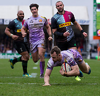 \Exeter Chiefs' James Short scores a try for Exeter<br /> <br /> Photographer Bob Bradford/CameraSport<br /> <br /> Premiership Rugby Cup Semi Final - Exeter Chiefs v Harlequins - Sunday 2nd February 2020 - Sandy Park - Exeter<br /> <br /> World Copyright © 2018 CameraSport. All rights reserved. 43 Linden Ave. Countesthorpe. Leicester. England. LE8 5PG - Tel: +44 (0) 116 277 4147 - admin@camerasport.com - www.camerasport.com