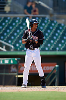 Jupiter Hammerheads third baseman James Nelson (19) at bat during a game against the Palm Beach Cardinals on August 5, 2018 at Roger Dean Chevrolet Stadium in Jupiter, Florida.  Jupiter defeated Palm Beach 3-0.  (Mike Janes/Four Seam Images)