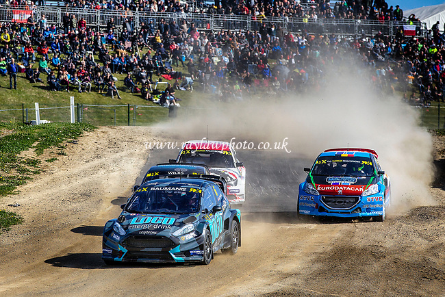 The third qualifier underway with Janis Baumanis, Team Stard leading into the valley during WRX 2017 Round Four Race Day at Circuit Jules Tacheny on 14th May 2017