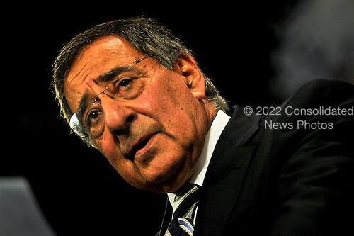 United States Secretary Of Defense Leon Panetta briefs reporters after meeting with NATO ministers of defense and representatives from non-NATO ISAF contributing nations to discuss Afghanistan operations during a summit at NATO headquarters in Brussels, Belgium, October 6, 2011.  Panetta is meeting with NATO counterparts and defense leaders to discuss lessons learned during NATO operations in Libya and Afghanistan and the future defense needs of the alliance. .Mandatory Credit: Jacob N. Bailey / USAF via CNP