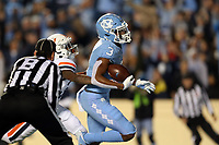 CHAPEL HILL, NC - NOVEMBER 02: Antoine Green #3 of the University of North Carolina scores a touchdown during a game between University of Virginia and University of North Carolina at Kenan Memorial Stadium on November 02, 2019 in Chapel Hill, North Carolina.