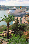 Cruise ship in Grand Harbour with palm tree in Valletta island of Malta