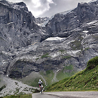 Ascending Grosse Scheidegg, Graübunden, Switzerland. Grosse Scheidegg is a high mountain pass in the Bernese Oberland, connecting Grindelwald and Meiringen. The pass lies between the Schwarzhorn and the Wetterhorn. The road over the pass is open only to bus traffic.