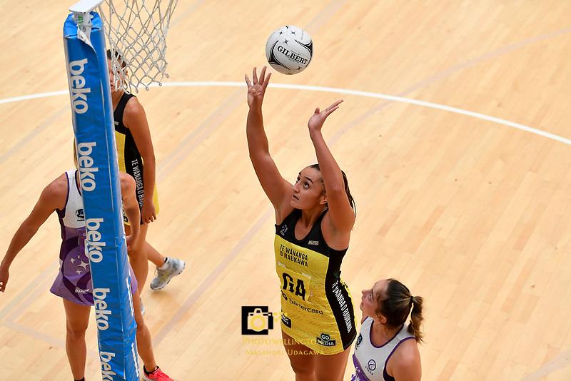 Pulse&rsquo; Tiana Metuarau in action during the Netball Pre Season Tournament - Pulse v Stars at Ngā Purapura, Otaki, New Zealand on Saturday 9 February  2019. <br /> Photo by Masanori Udagawa. <br /> www.photowellington.photoshelter.com