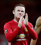 Wayne Rooney of Manchester United applauds the fans at full time  during the UEFA Europa League match at Old Trafford Stadium, Manchester. Picture date: September 29th, 2016. Pic Matt McNulty/Sportimage