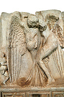 Close up of a Roman Sebasteion relief  sculpture of Leda and swan, Aphrodisias Museum, Aphrodisias, Turkey.   Against a white background.<br /> <br /> Zeus disguised as a swan assaults Spartan princess Leda. The bird stands on the tips of its outspread wings and presses its webbed foot on the thigh of modest, struggling Leda. The swan is supported from behind a small Eros. From this encounter came a large egg from which were born Helen and the Dionskouroi twins, Kastor and Polydeukes