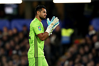 30th October 2019; Stamford Bridge, London, England; English Football League Cup, Carabao Cup, Chelsea Football Club versus Manchester United; Sergio Romero of Manchester Utd celebrates the penalty from Marcus Rashford for 0-1 in the 24th minute - Strictly Editorial Use Only. No use with unauthorized audio, video, data, fixture lists, club/league logos or 'live' services. Online in-match use limited to 120 images, no video emulation. No use in betting, games or single club/league/player publications