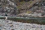 Salmon fishing in Hrútafjarðará, north Iceland. Pool Réttarstrengur