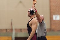 Stanford, Ca - November 18, 2016: The Stanford Cardinal wrestling team competes in a meet against the Purdue Boilermakers at Burnham Pavilion. Stanford won 23-14.