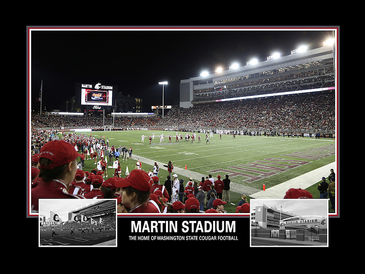 A view of Martin Stadium, the home of the Washington State Cougar football team, during a night Pac-12 Conference game against the Oregon State Beavers.