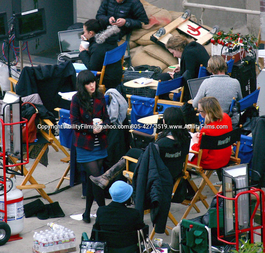 ..March 6th 2012....Zooey Deschanel filming New Girl tv show in Los Angeles ...AbilityFilms@yahoo.com.805-427-3519.www.AbilityFilms.com...