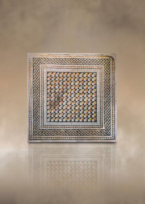 Roman mosaics -  The Bath House. The House of Oceanos, Ancient Zeugama. 3rd Century AD. Zeugma Mosaic Museum, Gaziantep, Turkey.   Against an art background.