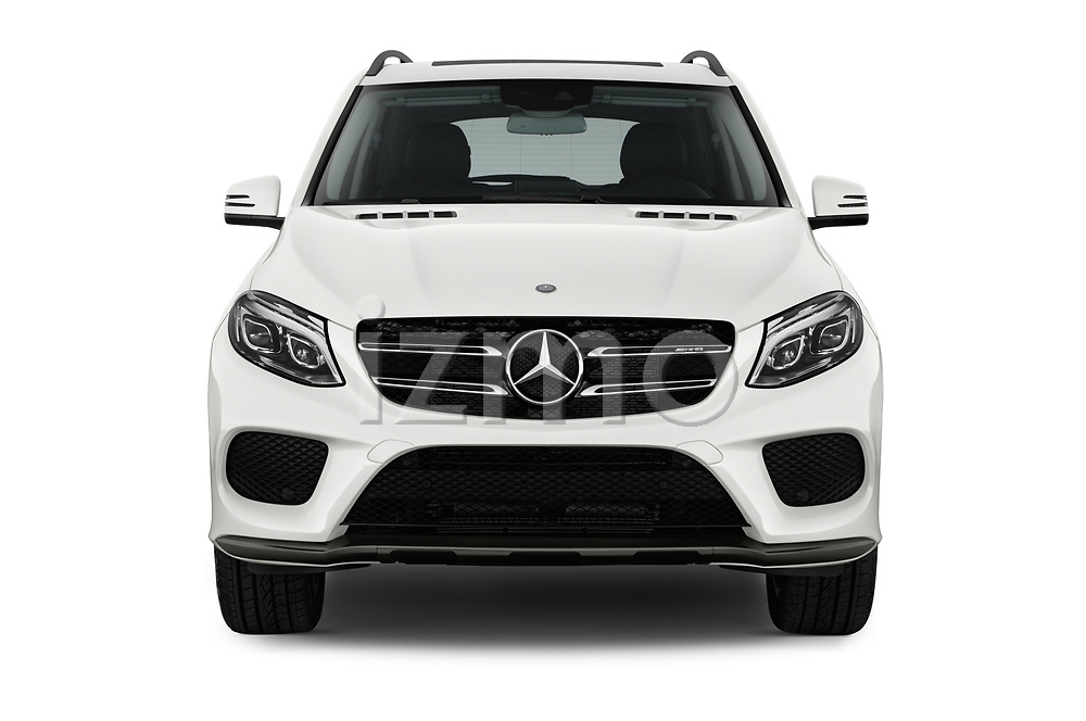 Car photography straight front view of a 2017 Mercedes Benz GLE AMG-43 5 Door SUV Front View