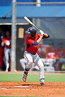 GCL Twins center fielder Jean Carlos Arias (13) at bat during the first game of a doubleheader against the GCL Rays on July 18, 2017 at Charlotte Sports Park in Port Charlotte, Florida.  GCL Twins defeated the GCL Rays 11-5 in a continuation of a game that was suspended on July 17th at CenturyLink Sports Complex in Fort Myers, Florida due to inclement weather.  (Mike Janes/Four Seam Images)