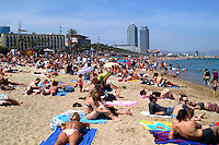 Beach scene in Barcelona, Spain.