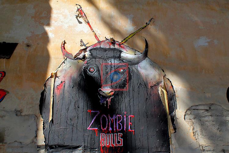 Street Art-Graffittis.<br /> Passeig de l'Exposicio.<br /> Barcelona- Poble Sec (Sants-Montjuic).