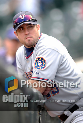 10 September 2006: Ryan Church, outfielder for the Washington Nationals, looks down the dugout prior to a game against the Colorado Rockies. The Rockies defeated the Nationals 13-9 at Coors Field in Denver, Colorado...Mandatory Photo Credit: Ed Wolfstein.
