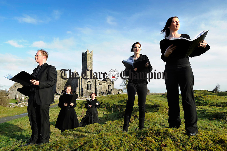 Breandán Ó hÉamhaigh, Sheila Bunce, Fiona Walsh, musical director,  Susan O Neill and Mary Healy, members of the Ennis Gospel Choir who are performing in the Glor Irish Music Centre at 8p.m. on February 19th. Photograph by John Kelly.