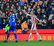 4th November 2017, bet365 Stadium, Stoke-on-Trent, England; EPL Premier League football, Stoke City versus Leicester City; Peter Crouch of Stoke City celebrates scoring the equaliser in the 73rd minute making it 2-2