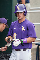 LSU Tigers shortstop Alex Bregman (8) in the dugout before the game against the TCU Horned Frogs in Game 10 of the NCAA College World Series on June 18, 2015 at TD Ameritrade Park in Omaha, Nebraska. TCU defeated the Tigers 8-4, eliminating LSU from the tournament. (Andrew Woolley/Four Seam Images)