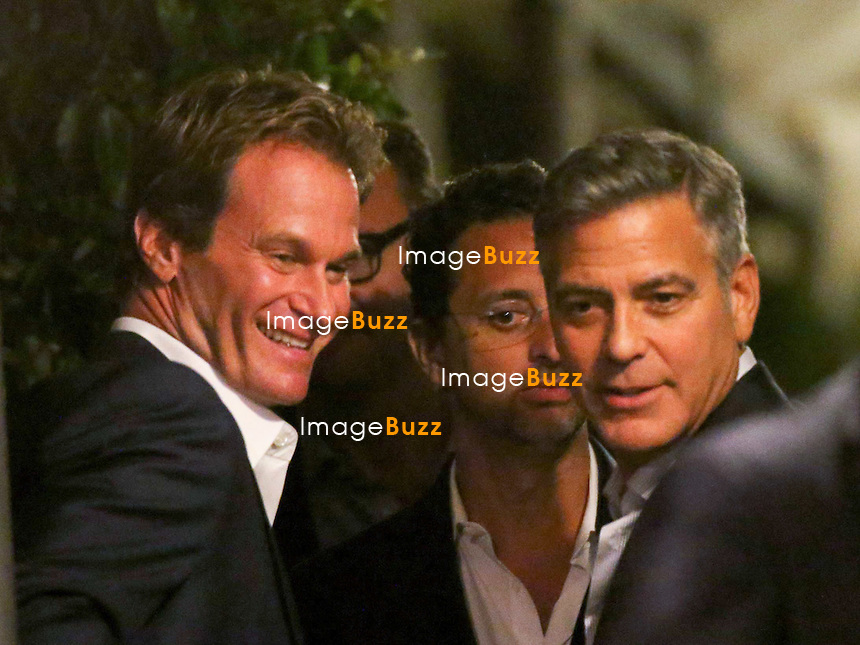 Rande Gerber &amp; George Clooney - GEORGE CLOONEY &amp; AMAL ALAMUDDIN CELEBRATE STAG NIGHT EVENT AT DA IVO RESTAURANT IN VENICE - <br /> George Clooney &amp; British fiancee Amal Alamuddin celebrate their stag night event at the Da Ivo restaurant in Venice, prior to their wedding day. <br /> Robert De Niro, Matt Damon, Brad Pitt and Cate Blanchett were among the other stars, like Cindy Crawford, Rande Geber, Bill Murray, Emily Blunt.<br /> Italy, Venice, 26 September, 2014.