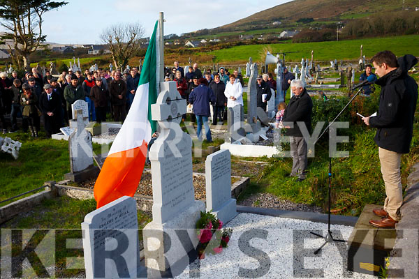 Padraig Garvey speaking at the graveside of Captain Maurice O'Neill (Óglaigh na hÉireann) from Letter, Cahersiveen who was remembered on the 75th anniversary of his execution in Mountjoy Gaol on Sunday, pictured here at Keelavarnogue Cemetery on Sunday.