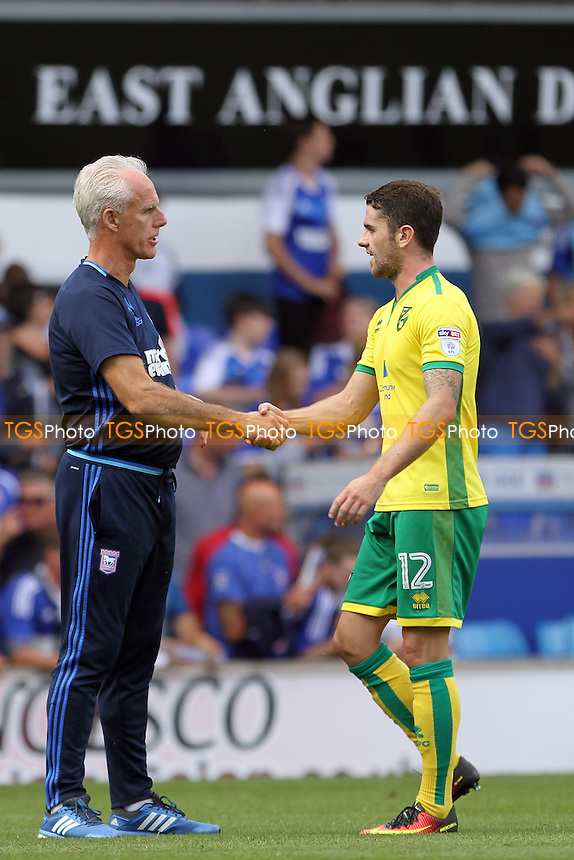 Ipswich Town manager Mick McCarthy with Robbie Brady of Norwich City at full-time during Ipswich Town vs Norwich City, EFL Championship Football at Portman Road on 21st August 2016