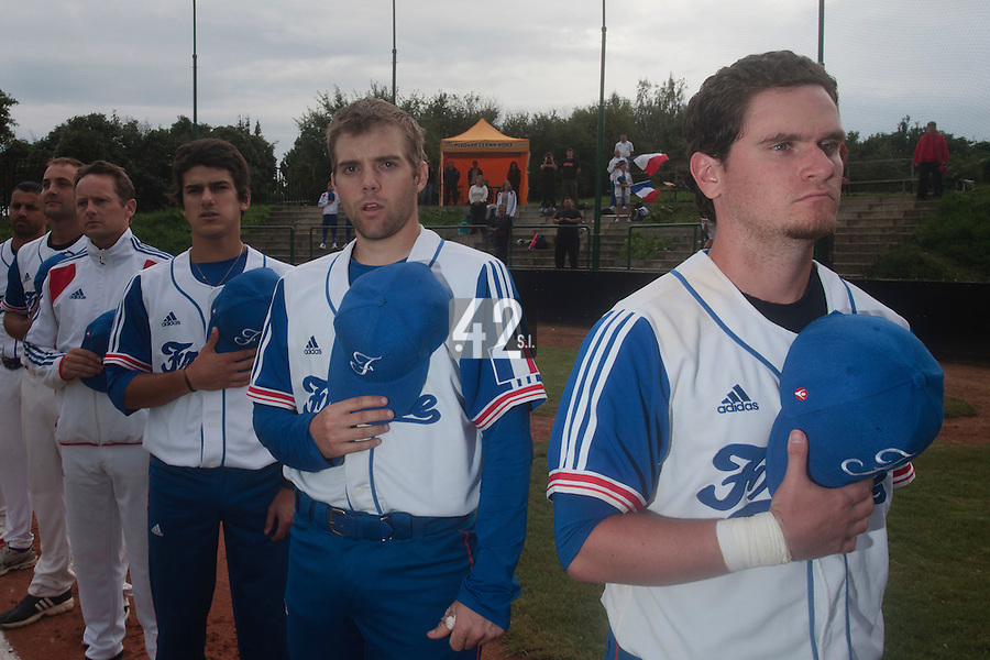 18 August 2010: Jorge Hereaud of Team France stands during the National Anthem prior to the France 7-3 win over Ukraine, at the 2010 European Championship, under 21, in Brno, Czech Republic.