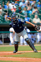 Mobile BayBears catcher Humberto Cota #20 throws to first during a game against the Montgomery Biscuits on April 16, 2013 at Riverwalk Stadium in Montgomery, Alabama.  Montgomery defeated Mobile 9-3.  (Mike Janes/Four Seam Images)