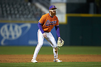 Clemson Tigers third baseman Grayson Byrd (4) on defense against the Charlotte 49ers at BB&T BallPark on March 26, 2019 in Charlotte, North Carolina. The Tigers defeated the 49ers 8-5. (Brian Westerholt/Four Seam Images)