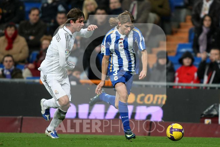 Deportivo de la Coruna's Filipe Luis (r) and Real Madrid's Sergio Ramos (l) during La Liga match.January 25 2009. (ALTERPHOTOS/Acero).