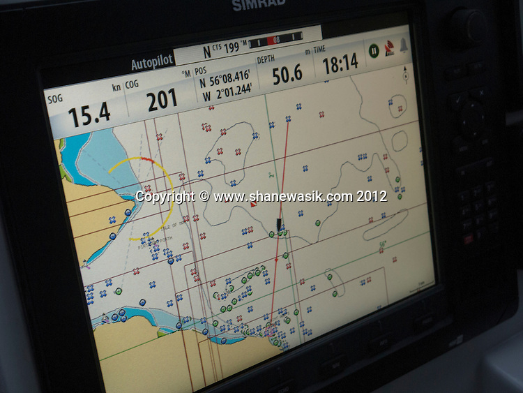 The chart plotter shows the distance we go to the wreck and also the many other wrecks in the area.