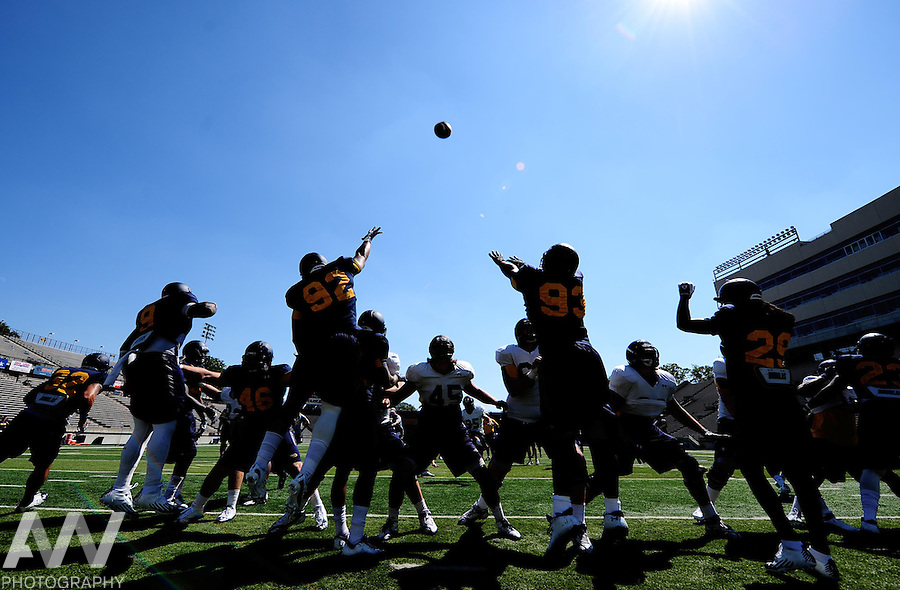 Aug 23, 2012; Toledo, OH, USA; Toledo Rockets defenders attempt to block a field goal during practice at the Glass Bowl. Mandatory Credit: Andrew Weber-US Presswire