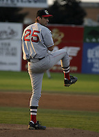August 8, 2004:  Pitcher R.J. Swindle of the Lowell Spinners, Single-A NY-Penn League affiliate of the Boston Red Sox, during a game at Dwyer Stadium in Batavia, NY.  Photo by:  Mike Janes/Four Seam Images