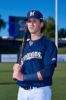 AZL Brewers Blue Cam Devanney (2) poses for a photo before an Arizona League game against the AZL Athletics Gold on July 2, 2019 at American Family Fields of Phoenix in Phoenix, Arizona. AZL Athletics Gold defeated the AZL Brewers Blue 11-8. (Zachary Lucy/Four Seam Images)