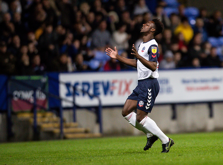 Bolton Wanderers' De'Marlio Brown-Sterling rues a missed opportunity<br /> <br /> Photographer Andrew Kearns/CameraSport<br /> <br /> EFL Leasing.com Trophy - Northern Section - Group F - Bolton Wanderers v Bradford City -  Tuesday 3rd September 2019 - University of Bolton Stadium - Bolton<br />  <br /> World Copyright © 2018 CameraSport. All rights reserved. 43 Linden Ave. Countesthorpe. Leicester. England. LE8 5PG - Tel: +44 (0) 116 277 4147 - admin@camerasport.com - www.camerasport.com