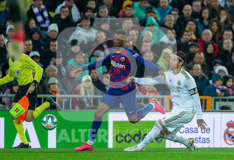 FC Barcelona's defense Nelson Semedo and Real Madrid CF's Sergio Ramos competes for the ball during La Liga match. Mar 01, 2020. (ALTERPHOTOS/Manu R.B.)