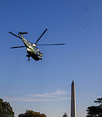 Marine One, with US President Donald J. Trump aboard, departs the White House in Washington, DC, USA, 24 October 2018. Trump was headed to Wisconsin for a campaign rally.<br /> Credit: Erik S. Lesser / Pool via CNP