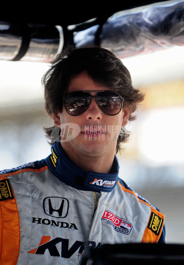 May 28, 2010; Indianapolis, IN, USA; IndyCar Series driver Mario Moraes during carb day prior to the Indianapolis 500 at the Indianapolis Motor Speedway. Mandatory Credit: Mark J. Rebilas-