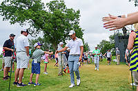 Danny Lee (NZL) fist bumps a fan as he makes his way from 10 to 11 during round 4 of the Dean &amp; Deluca Invitational, at The Colonial, Ft. Worth, Texas, USA. 5/28/2017.<br /> Picture: Golffile | Ken Murray<br /> <br /> <br /> All photo usage must carry mandatory copyright credit (&copy; Golffile | Ken Murray)