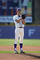 High Point Panthers starting pitcher Drew Daczkowski (16) looks to his catcher for the sign against the NJIT Highlanders at Williard Stadium on February 19, 2017 in High Point, North Carolina. The Panthers defeated the Highlanders 6-5. (Brian Westerholt/Four Seam Images)
