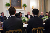 United States President Donald Trump speaks next to US Ambassador to the United Nations Nikki Haley during a working lunch with ambassadors on the UN Security Council in the State Dining Room at the White House on April 24, 2017.<br /> Credit: Molly Riley / Pool via CNP