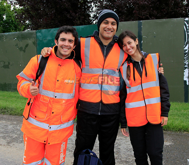 Felipe Vlanna Falcao, Jefferson Agostini and Sara Cerqveira from Brazil at Slane Concert with Eminem 2013 on Saturday 17th August 2013 <br /> Picture:  Thos Caffrey / www.newsfile.ie