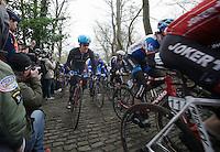 Tyler Farrar (USA) up the Muur van Geraardsbergen<br /> <br /> Omloop Het Nieuwsblad 2014