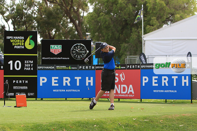Teeing off with Thorbjorn Olesen (DEN) on the 10th tee during the Pro-Am for the ISPS Handa World Super 6 Perth on Wednesday 15th February 2017.<br /> Picture:  Thos Caffrey / Golffile<br /> <br /> All photo usage must carry mandatory copyright credit     (&copy; Golffile | Thos Caffrey)