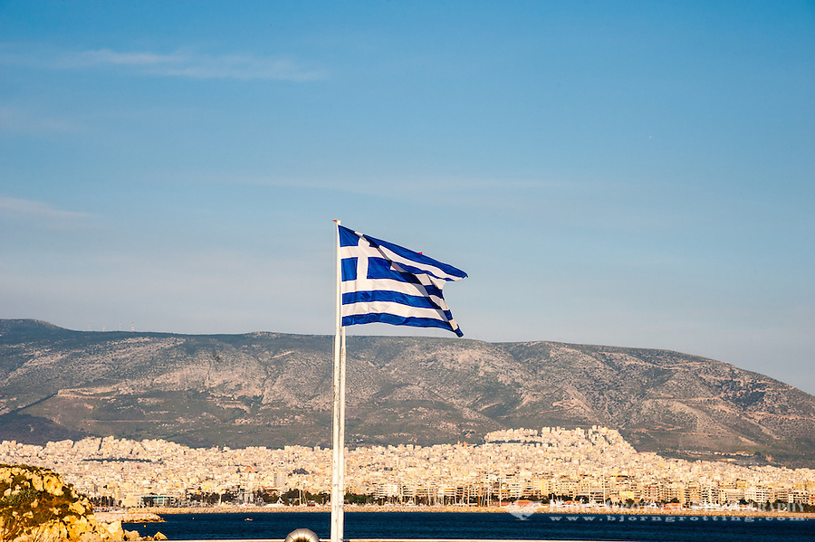 Piraeus, Greece.  Athens in the background.