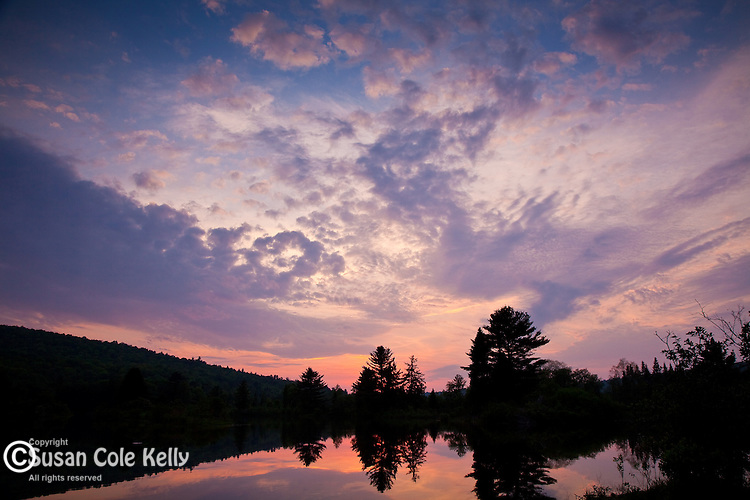 Sunset on Coffin Pond in Sugar Hill, NH, USA