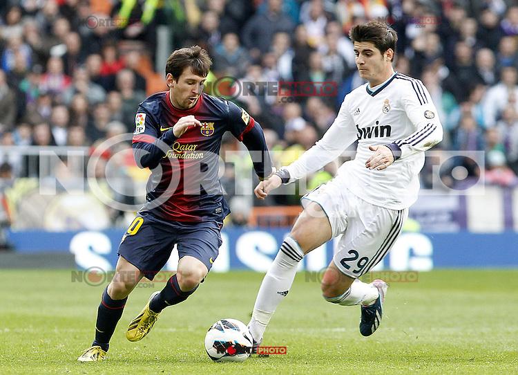 Real Madrid's Alvaro Morata (r) and FC Barcelona's Leo Messi during La Liga match.March 02,2013. (ALTERPHOTOS/Acero) /NortePhoto