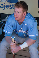 North Carolina Tar Heels third baseman Colin Moran #18 in the dugout before the game against the California Golden Bears in the NCAA baseball game on March 2nd, 2013 at Minute Maid Park in Houston, Texas. North Carolina defeated Cal 11-5. (Andrew Woolley/Four Seam Images)